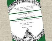Irish Wedding Invitation- Celtic Circle Theme in Green (50 qty.)