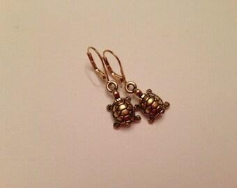 Turtle Earrings, Gold-Tone Finish, Leverback