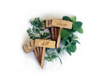 Herb Garden Plant Markers / Custom Tags / Wood Engraved / Set of 4 Labels