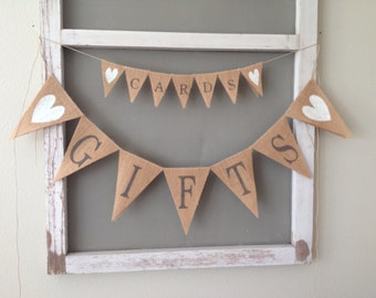 Cards And Gifts Burlap Wedding Banner Set, wedding banner, bunting, custom color glitter heart.