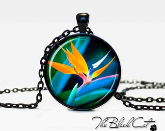 The bird of paradise pendant  The bird of paradise necklace  The bird of paradise jewelry  aqua yellow flower jewelry art gift for her