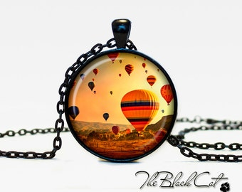 Hot air balloons pendant hot air balloons necklace hot air balloons jewelry (PAB0003)
