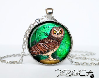 Steampunk Owl pendant Steampunk Owl necklace Steampunk Owl jewelry (POW0005)