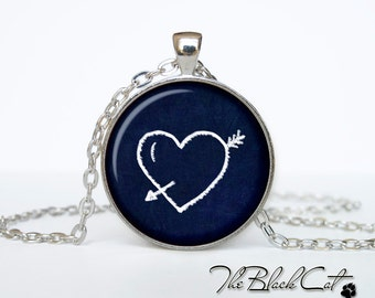 Heart and arrow necklace heart and arrow pendant Gift Ideas For Couples For Her Him I Love you jewelry