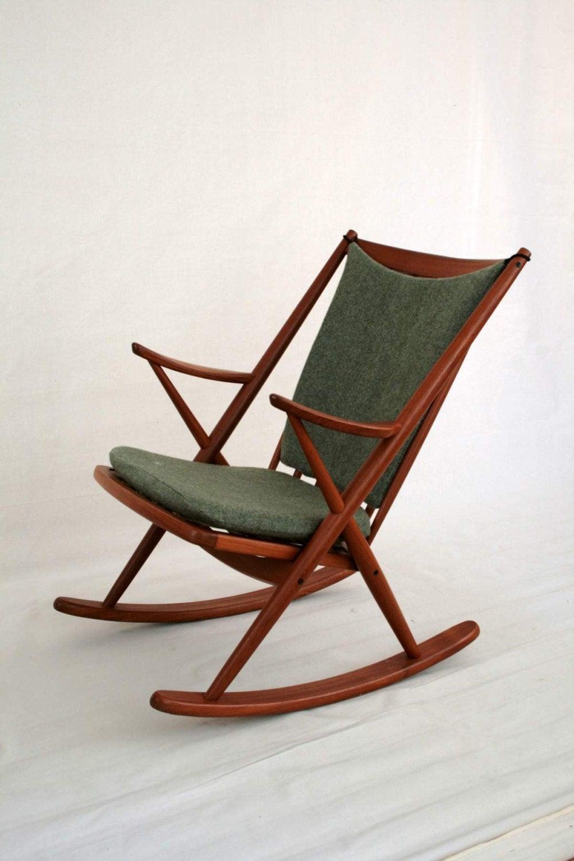 Rocking Chair Mid Century Teak Vintage By Frank Reenskaug For