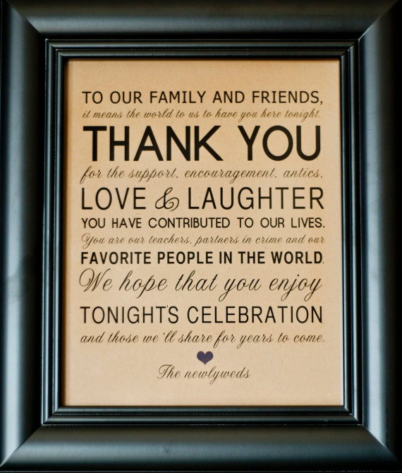 Thank You Wedding Reception Sign For Family By Freshlovecreations