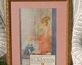 1918 Scranton Lace Curtains Advertisement Depicting Girl with Doll, Baby Shower Gift, Antique Advertising, Nursery Decor, Girls Room Decor