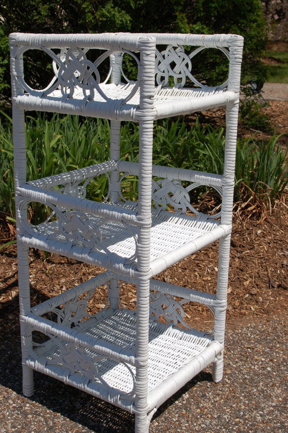 3 Tier Ornate Wicker Rattan Scroll Standing Shelf Unit Shabby