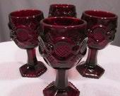 Set of 4 Renaissance Avon Cape Cod Ruby Glass Goblets