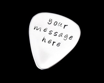 Personalized Message - Hand stamped Guitar pick - great for a gift