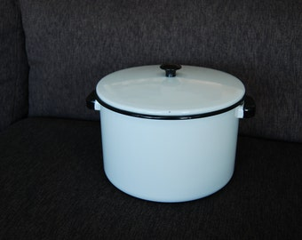 White Enamelware Pot with lid and Black Trim