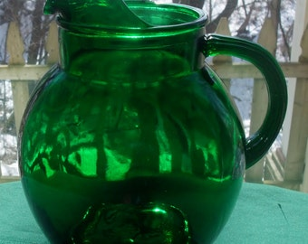 Anchor Hocking Emerald Green Ball Pitcher