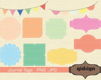 Candy Journal Tags and Stitched Bunting Clipart  Pastel Frames Personal And Commercial Use Instant Download