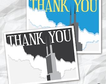 Printable Thank You Cards - Chicago Skyline Theme