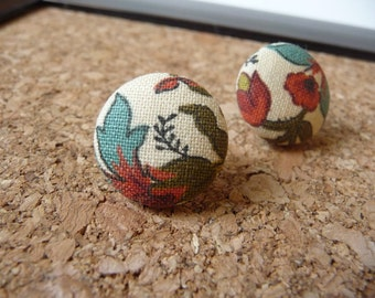 """Floral Button Earrings, Floral Fabric Covered Button Earrings 3/4"""" Post Earrings, Womens Earrings, Womens Jewelry"""