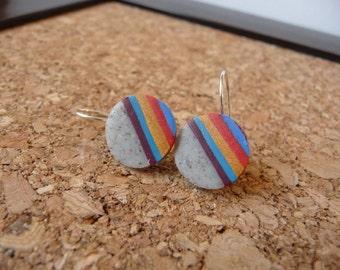 Colorful Polymer Clay Dangle Earrings Faux Stone, Rainbow Earrings, Womens Earrings, OOAK Modern Earrings