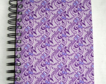 Purple Patterned Fabric Notebook