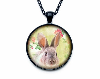 Rabbit pendant Bunny necklace hare jewelry nature necklace