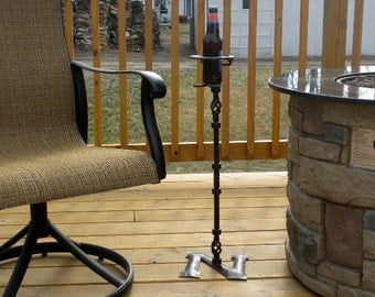 Hand Forged Hand Made Wrought Iron Outdoor Tailgating Patio Deck Drink Can Glass Holder