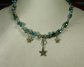"""Cynthia Lynn """"CRYSTAL SEA"""" Green Shell and Czech Fire Polished Crystal Starfish Nautical Necklace 16-18 inches"""