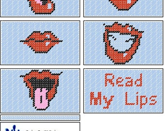 Lip Checkbook Cover Plastic Canvas Pattern Set