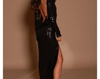 Long sequin backless dress