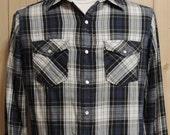 Vintage American Living Western Flannel Shirt Plaid Men's Medium