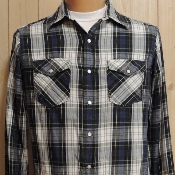 vintage american living western flannel shirt plaid men 39 s