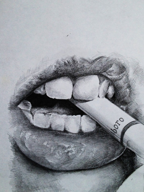 Smoking Lips sketch. by CainnDesigns on Etsy: https://etsy.com/listing/129536071/smoking-lips-sketch