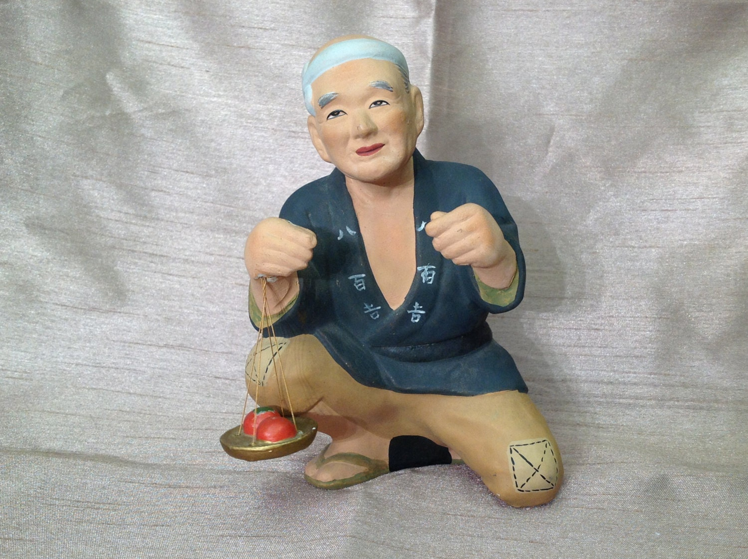 Hakata Urasaki Doll From 1950s Japan Old Man With By