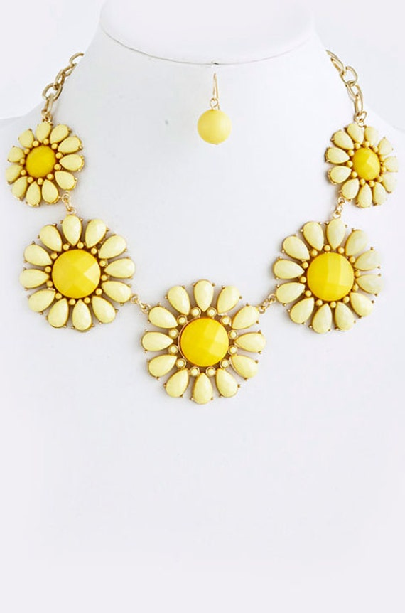 yellow flower statement necklace with earrings jcrew