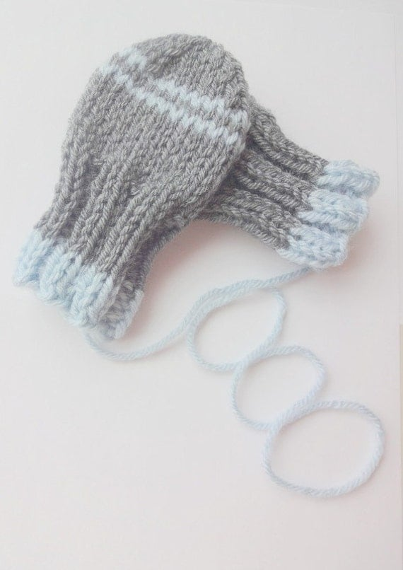 Knitting Pattern For Baby Hat And Mittens : Thumbless Baby Mittens KNITTING PATTERN, Instant Download, Winter Accessory, ...
