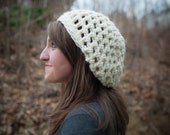 FREE SHIPPING White/ Cream Slouchy Hat, chunky knit crochet, beanie, winter hat, free shipping