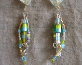 Blue and Gold Beaded Dangle Earrings