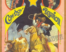 COWBOY Rodeo Poster  Texas Cowboy Reunion 1930 Vintage Poster 18x24