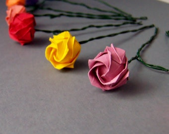 Miniature Origami Rose with Stem