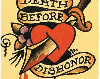 11 x 17 Death Before Dishoner Heart and Dagger Sailor Jerry Style Tattoo Flash Poster Print