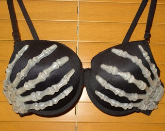 Skeleton Hands Bra -  Glow  in the dark Bra - Halloween Costume
