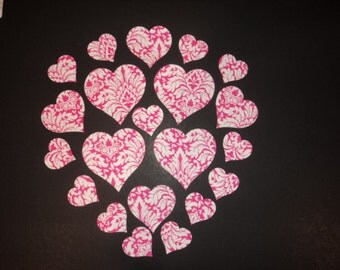 Die Cut Applique Shapes.  Parisian Pink Fabric Heart Shapes.  Assorted Sizes.    Fusible (Iron On).