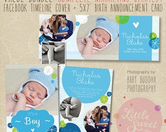 Birth Announcement Template PLUS Facebook Timeline - Photoshop Templates for photographers (vb10) - INSTANT DOWNLOAD