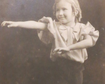 Original 1930's Momma's Little Dancer Girl RPPC Real Photo Postcard - Free Shipping