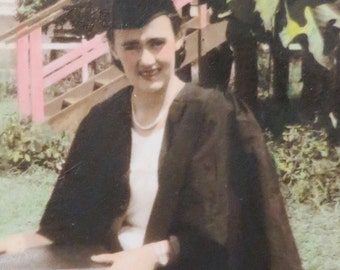 1940's Hand Tinted Young College Coed Graduate Snapshot Photo - Free Shipping
