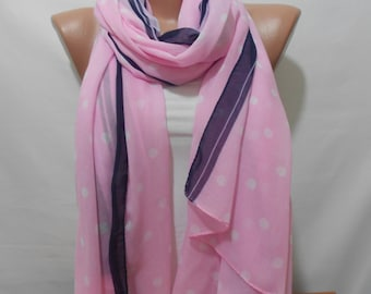 Soft Cotton Large Scarf Polka Dots Scarf Pink Scarf Shawl Cowl Scarf Pareo Beach Wrap Gift Ideas For Her Women Fashion Accessories ScarfClub