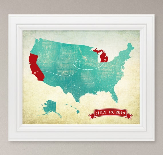 Customized US Map Art Print / United States By