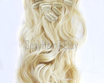 "23"" Platinum Blonde Hair Extensions, Bleach Blonde, Clip in Extensions, 8 Piece Set, Clip On Extensions, Thick Hair, Long Hair. Bunny Blonde"