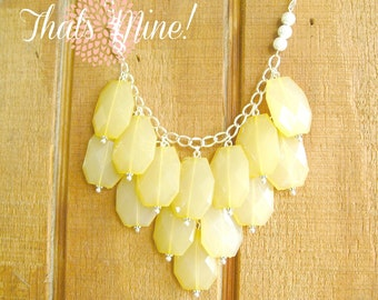 Yellow bib necklace, Yellow statement necklace