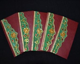 Handmade Money Holder Set, Shagan Envelopes, Indian Wedding, Fancy Money Envelopes, Cash Envelopes, Maroon Envelopes for Indian Wedding,