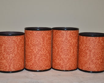 Handmade Pencil Holder Set, Orange, Gifts for Graduates,Hostess Gifts,Teacher Gifts, Gifts under 20, Desk Accesories, Pencil cups,