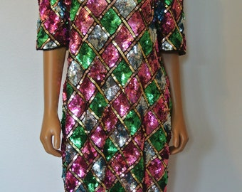 Vintage 80s Mosaic Trophy Sequins Encrusted Glam Deco Silk Sheath Dress Large