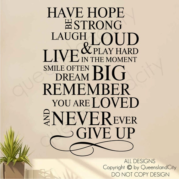 Live Laugh Love Dream Quotes: Items Similar To Hope Strong Laugh Play Live Smile Dream